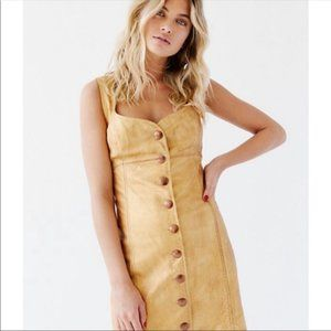 Free People Goldie Gold Leather Mini Dress - 10